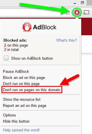 click on the adblock icon in the upper right hand corner of your browser 2 after the drop down list appears click on the button that says don t run on